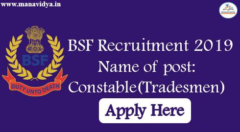 BSF Recruitment 2019-For 1763 Constable(Tradesmen) Posts Offline